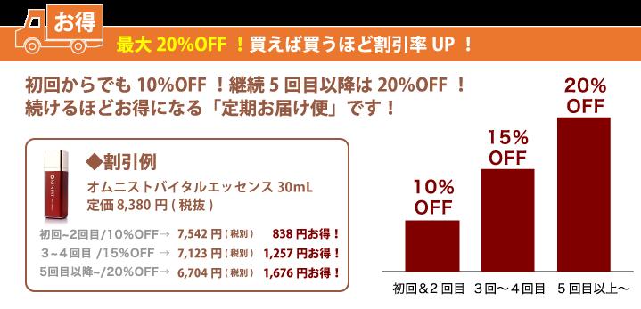 最大20%OFF!買えば買うほど割引率UP!